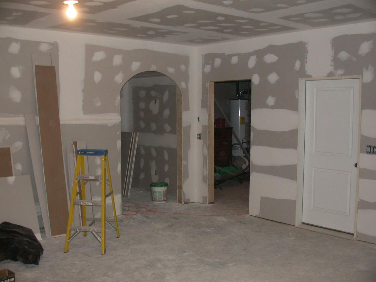 drywall is being prepared for paint